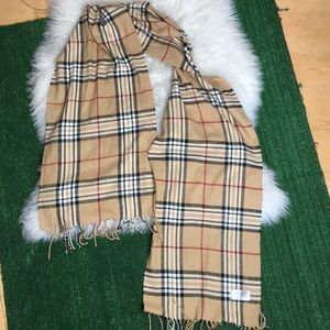 Cream and plaid scarf